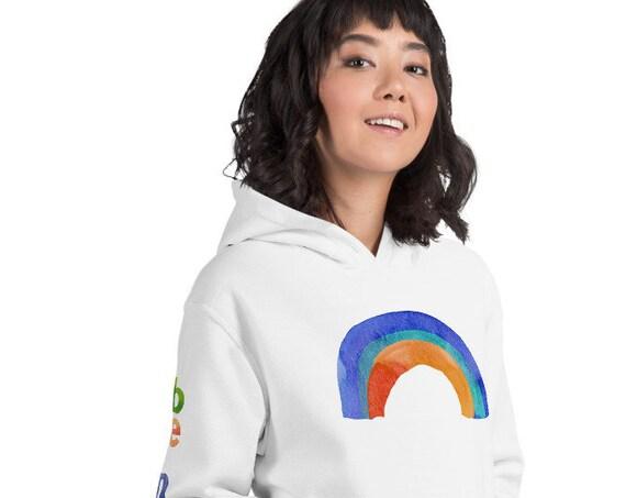 Rainbow Hoodie, Be Nice Print Sleeves, Oversized Casual Lifestyle Wear, Fall Hooded Sweatshirt