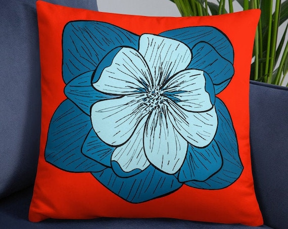 Red and Blue Accent Pillow, Colorful Large Square Cushions for Couch, Bed, Floor Pillow, Unique Home Decor