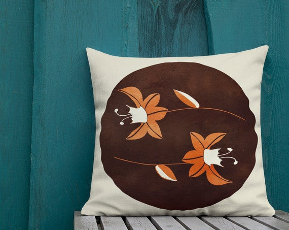 Fall Tones Accent Pillow, Custom Cushion in Burnt Orange Floral Print, Machine Washable, Great for Home Staging