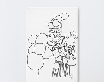 Pogo the Clown line art, Large Canvas, Gacy Serial Killer, Horror Gothic Painting Artwork