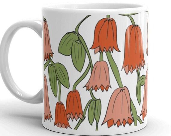 Bluebells in Fall Terracotta Colors Mug, Handpainted Ceramic Coffee Mug, Artsy Floral Friendship Gift