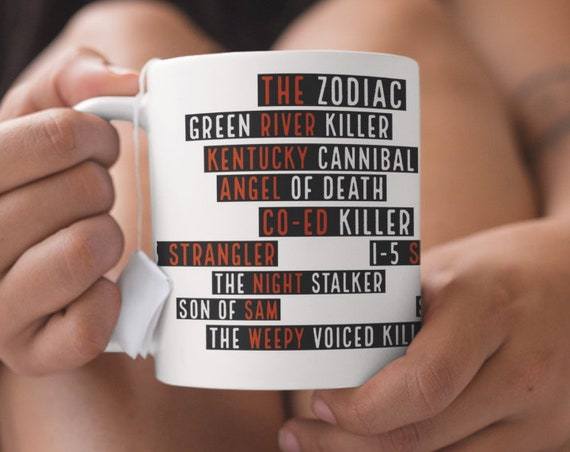 Serial Killer Mug, True Crime Detective Memorabilia, Horror Decor, Zodiac, Son of Sam