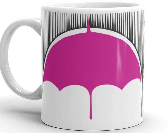 Umbrella Academy Klaus Number Four Mug, Black Rain Pink Umbrella For Fans of TUA Show