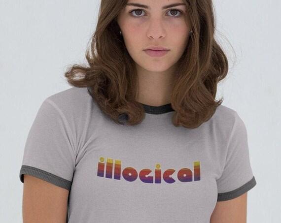 Illogical Graphic Ringer T Shirt, Semi Fitted Cute, Soft VSCO egirl Vintage Retro Aesthetic