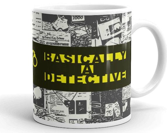 True Crime Basically a Detective Mug, Crime Gifts for Friends, Weird Home Decor for Your Favorite Murderino