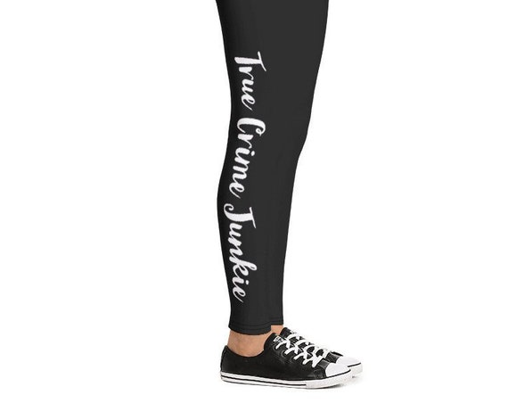 True Crime Joggers, All Over Print Leggings for Podcast Fans, Serial Killer Obsessed, Amateur Detective