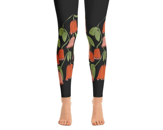Cute Flower Leggings for Dance, Original Festival Flower Print, Workout Running Stretch Pants
