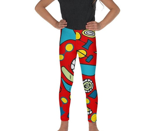 Mini Me Matching Youth Leggings, Retro Red Mod Print Tights from Frenchtoastygood for Kids