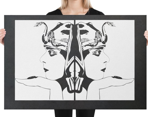 Theda Bara as Cleopatra, Large Canvas Wall Art, Minimalist Line Print, Silent Film Memorabilia
