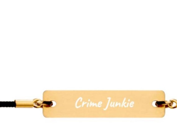 Crime Junkie Engraved Gold, Silver or Rose Gold Bar String Bracelet - Unisex, Adjustable Size, Unique True Crime Podcast Fan Gift