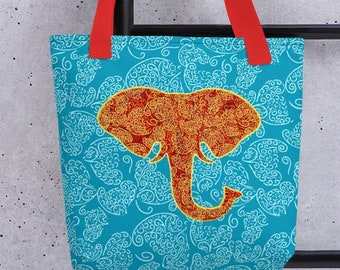 Boho Elephant Tote, Unique Stylish Purse, Weather Resistant Totebag for Travel to Beach, Gym, Yoga Class