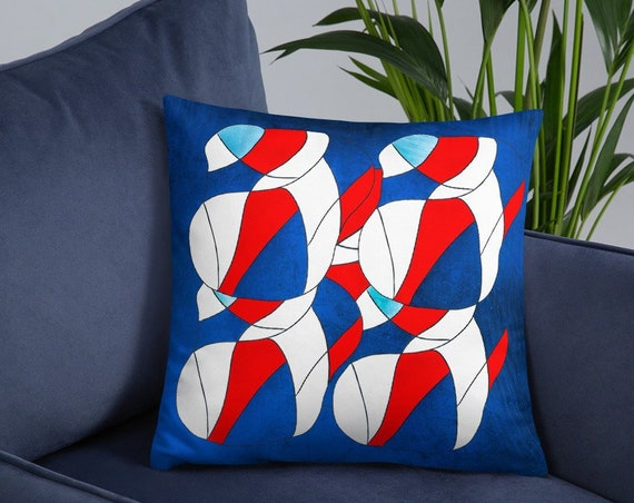 Abstract Red White Blue Pillow, Accent Throw Cushion for Sofa, Bedroom, Living Room Colorful Home Staging