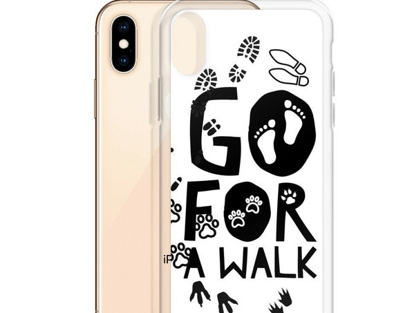 Go for a walk iPhone X XR Case, Healthy Fitspiration, Get Active Motivational Quote, Cute VSCO Sticker Aesthetic Phone Cover