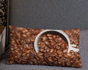 """Coffee Lover Pillow 20""""x12"""" High Quality Double Sided Rectangular Pillow Lumbar Cushion Home Decor Staging Gift Ideas"""
