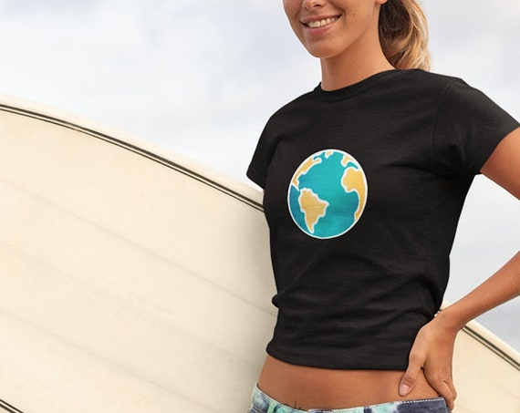 Earth Graphic Crop Top for Women, Casual Aesthetic Cropped T Shirt for Festivals, Raves, Lifestyle