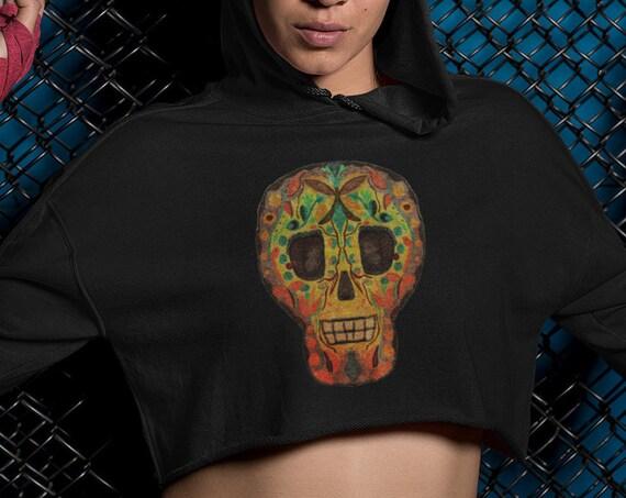 Sugar Skull Crop Top Hoodie, Fleece Cropped Sweatshirt, Womens Ladies Plus Sizes