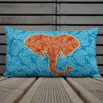 Bohemian Print Pillow, Red Gold Elephant Pattern, Ornate Decorative Cushion, Blue Premium Pillows for Boho Home Staging