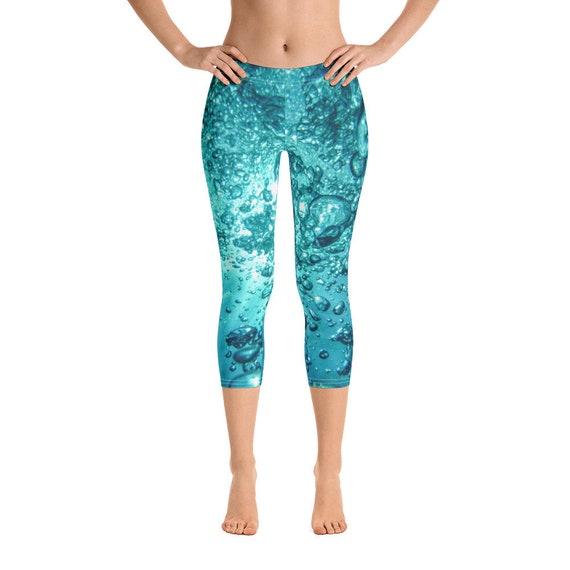 Cute Capri Leggings, Water Print Stretch Tights for Dance, Festivals, Yoga Gear