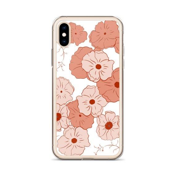 Boho Chic Phone Case, Samsung Galaxy, iPhone, Aesthetic Pretty Peach Pink Flower Pattern