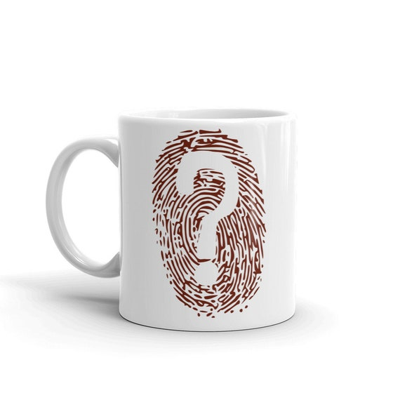 Crime Coffee Mug with Fingerprint, Forensic Detective Kitchen Decor for Crime Junkies