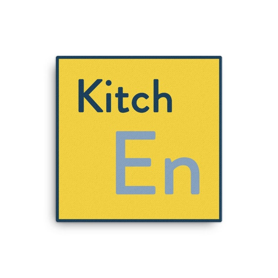 Quirky Kitchen Art Sign, Yellow Canvas Print, Food Science Periodic Table Graphic, Original Artwork