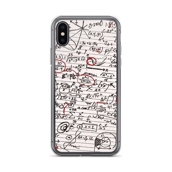 Math Geek Phone Case, Unique iPhone or Galaxy Cover for Nerdy Friends and Science Lovers, Math Algorithms on Notebook Paper
