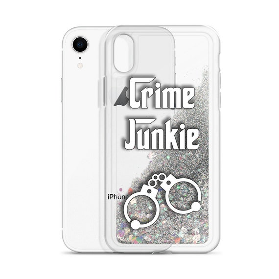 True Crime iPhone Case, Clear Cover filled with Liquid Glitter, Crime Junkie BFF Gift