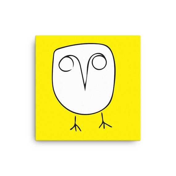 Owl Illustration on Yellow Background, Original Artwork, Canvas Art Print, Square Wall Hanging, Colorful Home Decor, Simple wall art