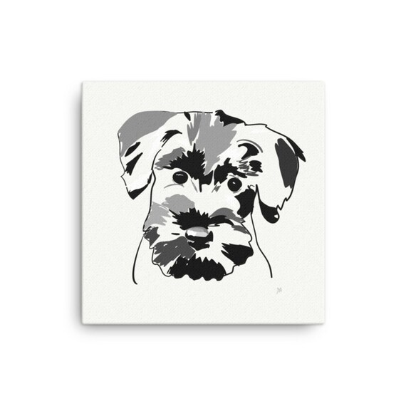 Miniature Schnauzer Canvas Painting, Square Illustration of Dog, Ready to Hang for Animal Lovers Room Decor
