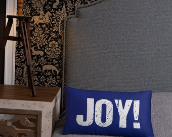 Joy throw pillow, Positive Home Decor, Inspirational Quote Cushion for Room or Bedding, Lumbar Support
