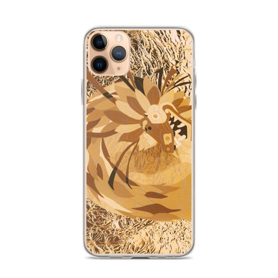 Gold Dragon Phone Case, Quetzalcoatl Aztec Design, Bling Glam Aesthetic, iPhone 11 and Samsung Galaxy S10
