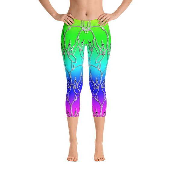 Flamingo vs Flamingo PRIDE Leggings, Colorful Rainbow Capri Women's Athletic Tights, Derby, Yoga, Wrestling