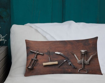 Wine Lover Pillow, Corkscrew Cushion, Decorative Accent for Room Interior Decor