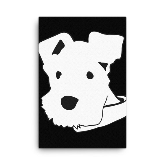 Schnauzer Dog Canvas Art, Large Minimalistic Line Art, Original Artwork, Home Staging Pet Friendly Family Room Interior