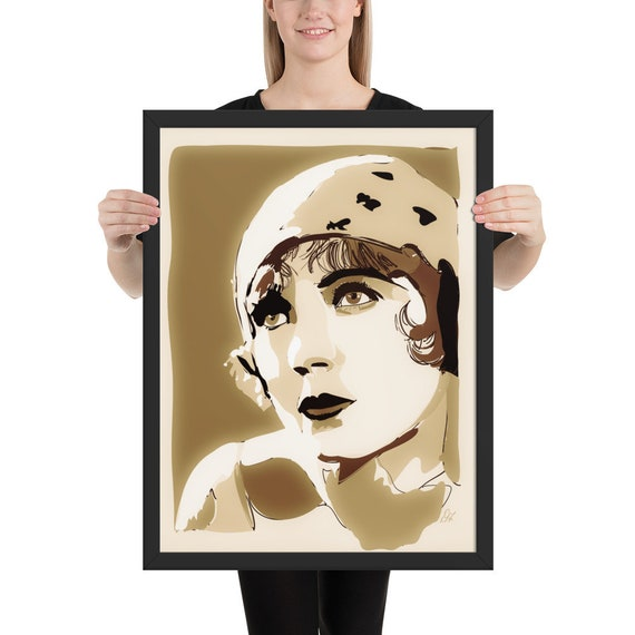 Framed Movie Poster, Silent Actress Series, Sepia Photo Posters, Vintage Home Decor
