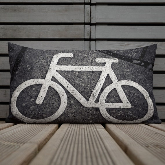 Urban Bicycle Premium Pillow, Cool Bike Concrete Color, Streetwear Style, Bike Exercise Travel Decor for Home Interior Room Staging