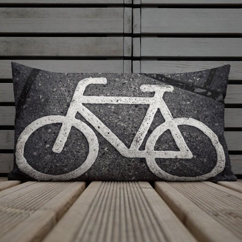 Urban Bicycle Premium Pillow Cool Bike Concrete Color image 0