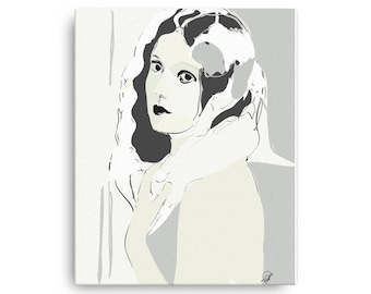 Gothic Wall Art Minimalist Portrait, Home Decor, Interior Room Staging Piece, Wood Mounted, Ready to Hang