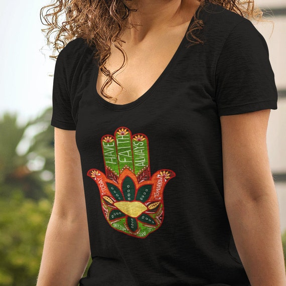Hand of Fatima Shirt, Original Art Graphic Tee for Women featuring Hand of the Goddess. Boho BFF Gifts