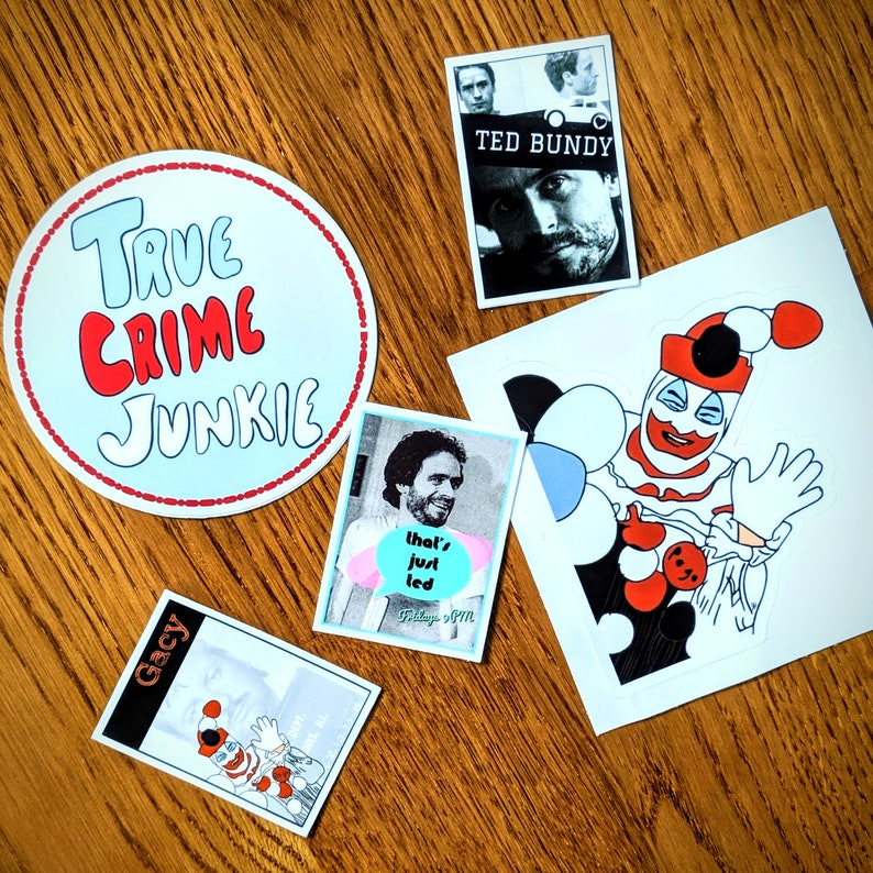 True Crime Sticker Pack, Vinyl Decals for Water bottles and laptops, Gifts  for Murderinos