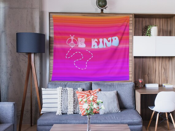 Bee Kind Colorful Wall Hanging, Tapestry for Home, Dorm, Apartment, Condo, VSCO Positivity