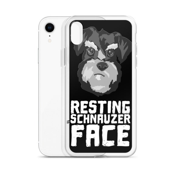 Funny Miniature Schnauzer Phone Case, Resting Schnauzer Face Dog Graphic, Gift for Pet Lover, Owner, Groomer