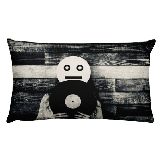 Analog Pillow, Black White Photography, Vinyl Aesthetic Hipster Accent Cushion, Modern Home Decor