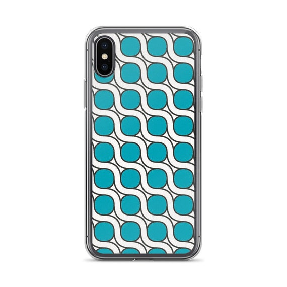 Art Deco Phone Case, Blue Tile Pattern Cell Cover iPhone 11 or Samsung Galaxy S10