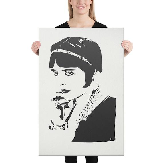 Canvas Minimalist Portrait Print, Original Artwork, Contemporary Figurative Portrait, 1920s Aesthetic, Gatsby