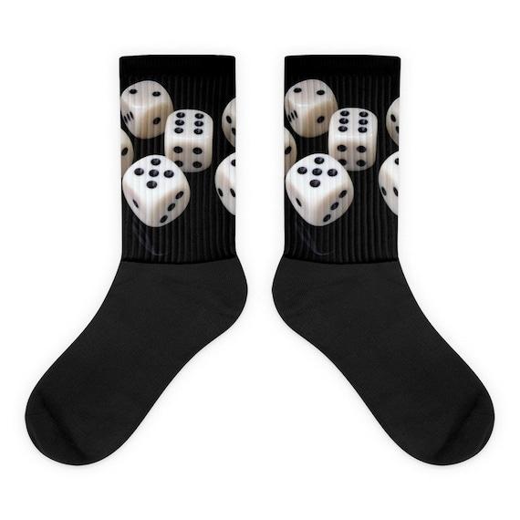 Dice Games Gambling  Socks Black Crew Length Novelty Dad Socks