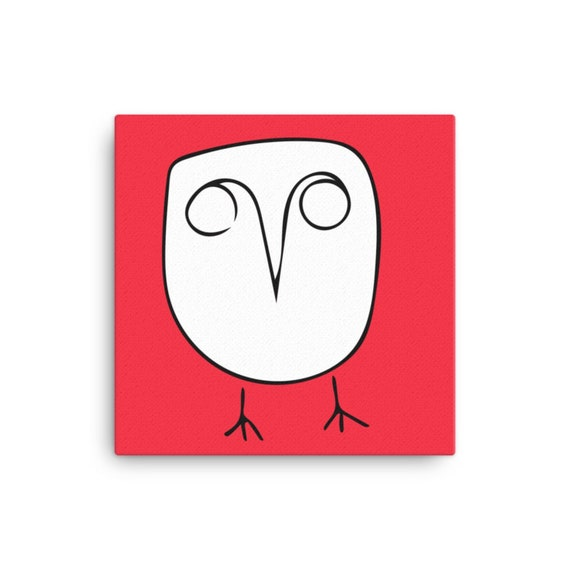 Owl Art on Red Background, Minimalist Line Artwork, Canvas Painting, Whimsical Home Decor