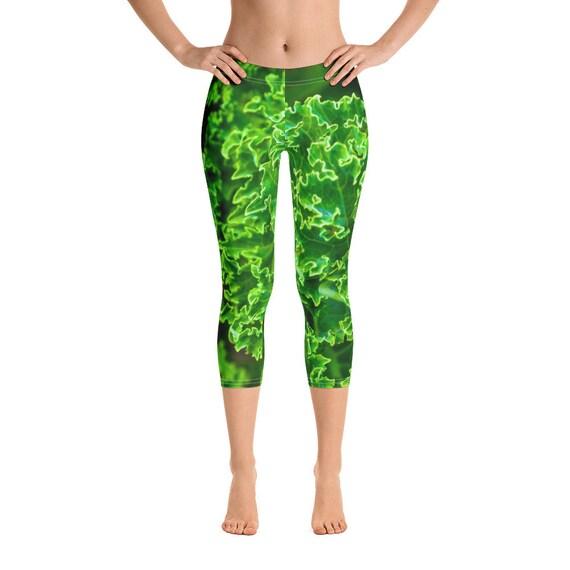 Leafy Greens Leggings, Stretchy Spandex Capris, Bright Cute Festival Fashion, 4 Way Stretch
