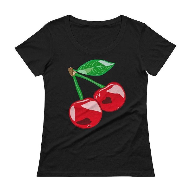 Cherry Tshirt Cute Red Cherries Shirt for Women from Black
