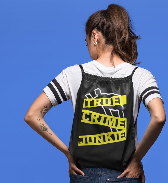 Crime Scene Tape Bag, Crime Junkie and Detective Fans, My Favorite Murderino Backpack, Cute Totebag Gifts